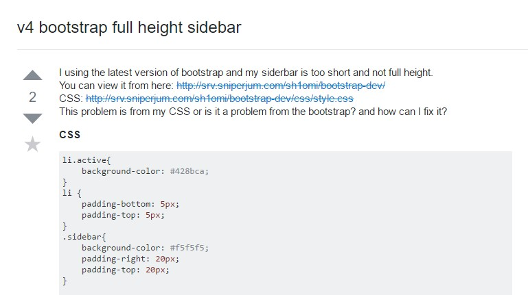 V4 Bootstrap  entire height sidebar