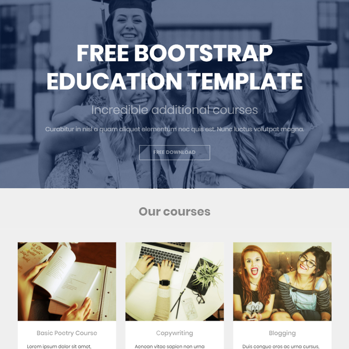 Free Bootstrap Education Themes