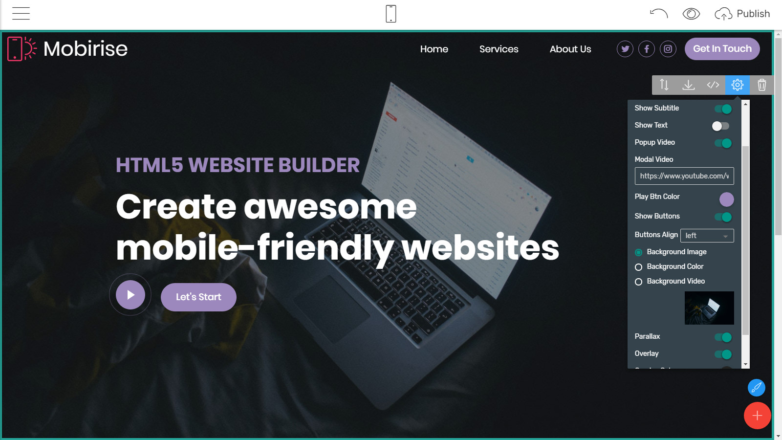 mobile site layouts