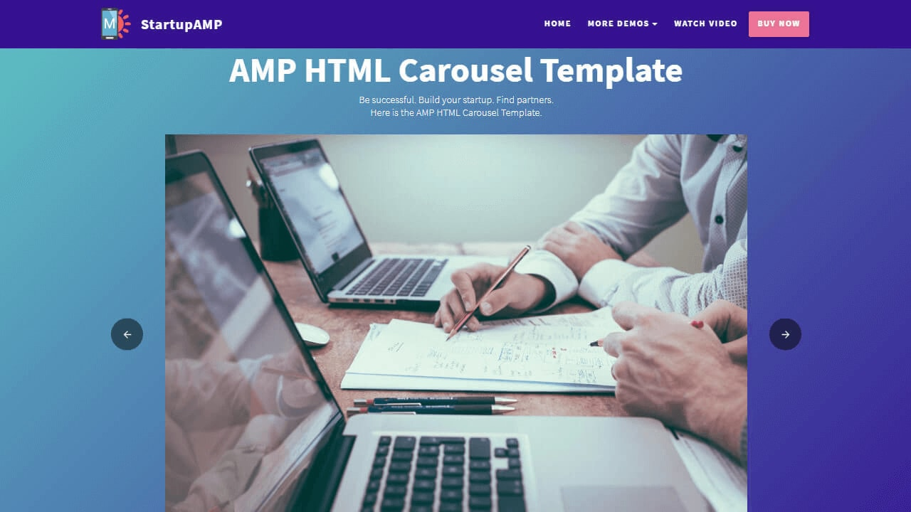 AMP HTML Sliders and Videos Template