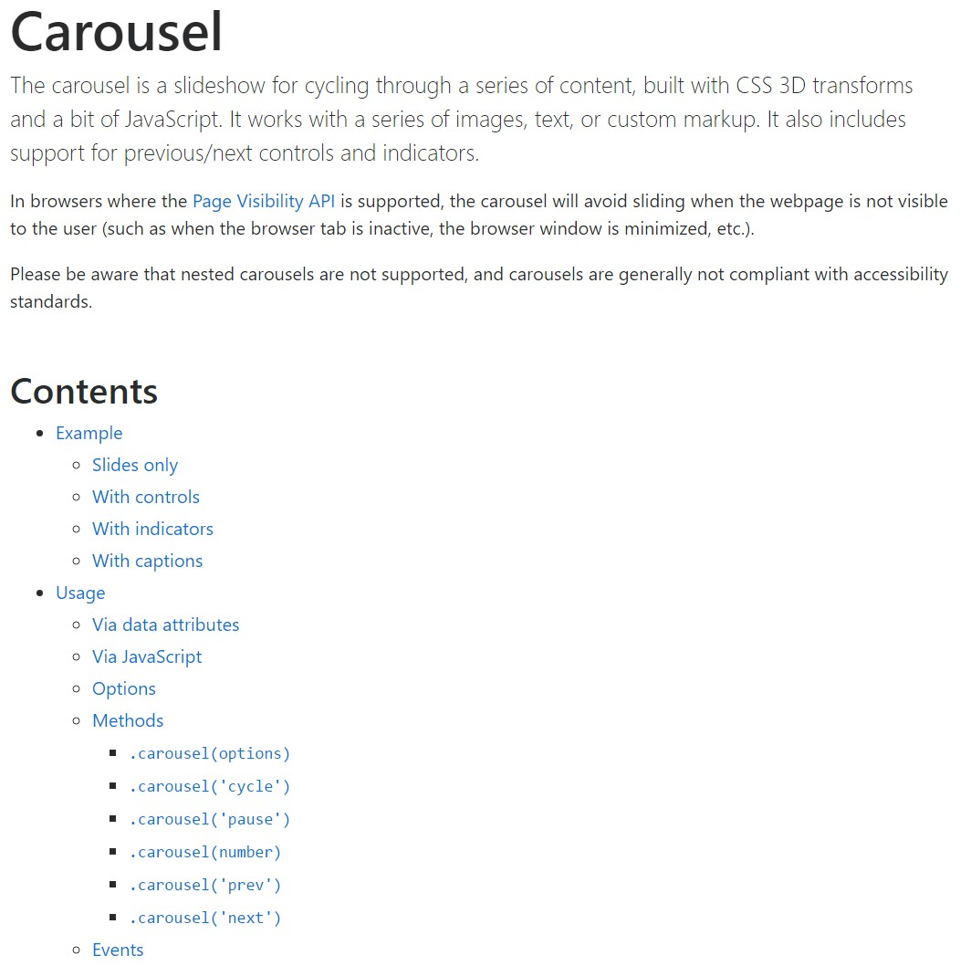 Bootstrap carousel official  information