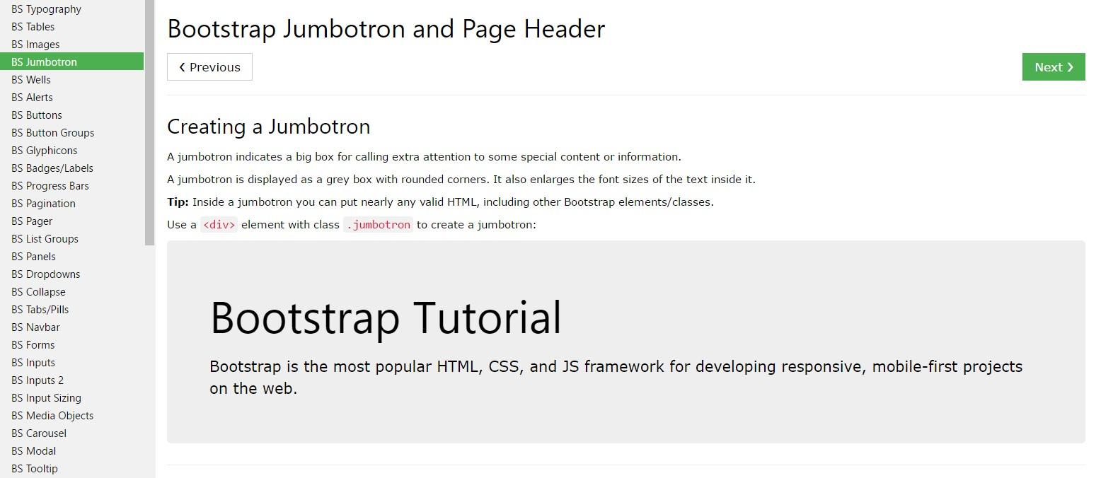 Bootstrap Jumbotron  guide