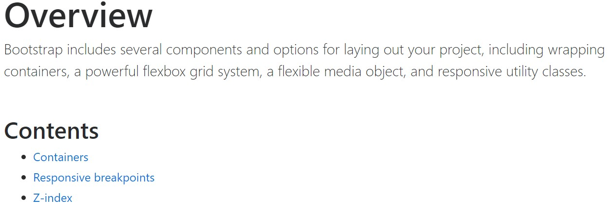 Bootstrap layout official  documents