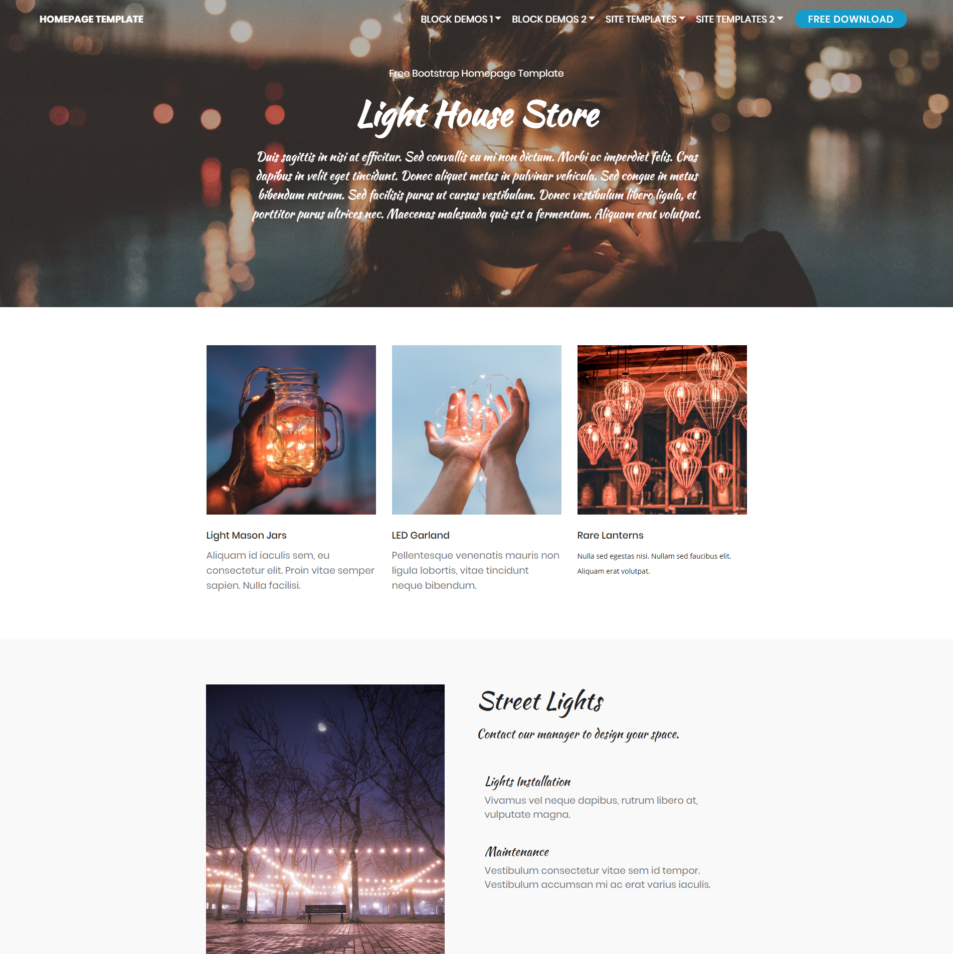 Free Bootstrap Homepage Themes