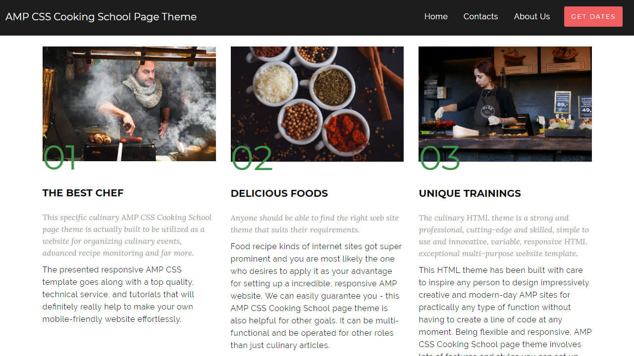 AMP CSS Cooking School page theme