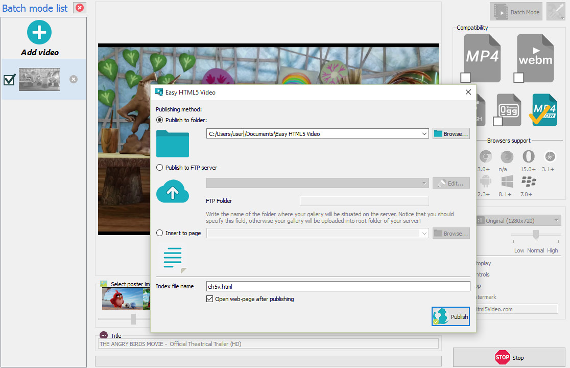 Free Video HTML5 Generator